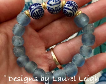 BLUE Chinoiserie Beaded Bracelet | navy, beaded, stretchy, blue and white, Designs by Laurel Leigh