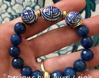 BLUE Chinoiserie Beaded Bracelet | beaded, stretchy, blue and white, Designs by Laurel Leigh
