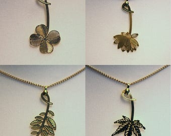 Gold Plated Leaf and Flower Design Necklaces*Pendants. Four Leaf Clover, Maple, Lotus and Rose leaves.