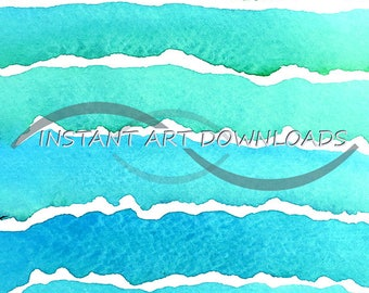 Stock Photography Teal Blue Green Watercolor Painting Printable Digital Download Large Abstract Scrapbooking Fine Art Paintings Wall Art