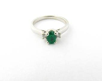 Vintage 14 Karat White Gold Emerald and Diamond Ring Size 6.25#2952