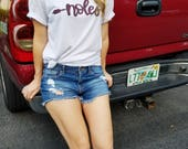 FSU Shirt    Noles Tee    Florida State University T-Shirt    FSU Seminoles    Handlettered Noles White Shirt