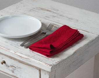 Linen Napkins - Stone Washed Linen Napkins - Handmade Linen Napkins - Rustic Wedding Napkins -Red Linen Napkins set of 2, 4, 6, 8, 12