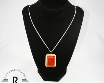 Esmeralda - Emerald Cut-Style Handmade Wood Necklace  | Made from Reclaimed Padauck and Maple Woods