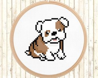 Cute Animal Cross Stitch Pattern, Dog Cross Stitch Pattern, Beginners Cross Stitch Pattern, Kids Room Decor Cross Stitch, Bull Dog Puppy,