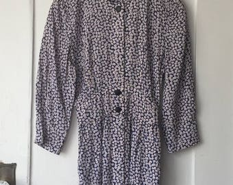Women's 8 Petite - Vintage 80s Floral Print Three-Quarter Sleeve Dress ~ Karin Stevens