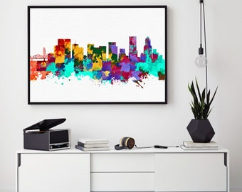 Portland Skyline, Portland Print, Skylines Print, Portland City Wall Art Decor, Home Decor, Abstract Art, Watercolor Portland (N144)