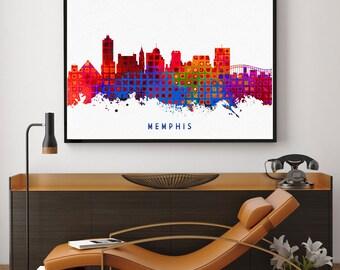Memphis Skyline Print, Memphis Painting, Memphis Art, Memphis Wall Decor, Watercolor Memphis, Tennessee Art,  Memphis Theme (N162)