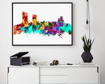 Grand Rapids Skyline Art, Grand Rapids Print, Grand Rapids Painting, Grand Rapids Poster, Colorful Grand Rapids, Michigan Painting (N186)