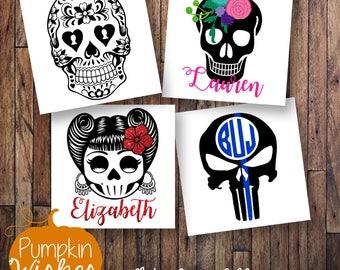Sugar Skull Decal/Rockabilly Decal/Punisher Skull/Skull Decal/Floral Skull/Yeti Decal/Sugar Skull