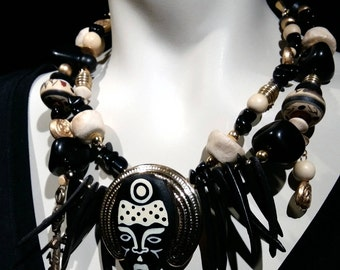 Big Bold African Influence statement choker  beaded necklace, African mask, tribal, bold, eye catcher, all natural components