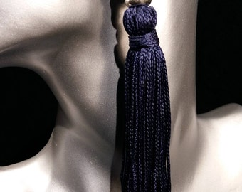 Navy 4 inche tassel earring,statement earring, Chic and Fashionable