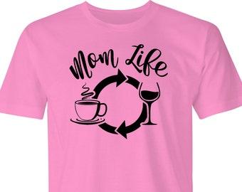 Mom Life t-shirt, Moms Life wine & coffee print,Moms T-shirt, Moms Life print, Wine Coffee T-shirt, Coffee and wine MomT-shirt, T-shirt.