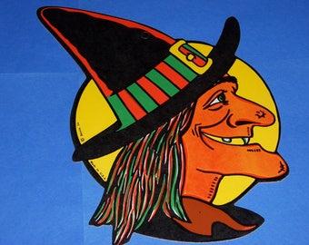 Vintage Halloween Witch Die-Cut, Vintage Beistle, Embossed Beistle Witch