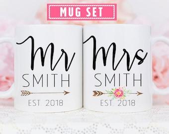 Mr and Mrs Mug Set, Bride and Groom Mug Set, Mr and Mrs Anniversary Mugs, Wedding Couple Mug Set, Personalized Mr and Mrs Mug Set, Mr & Mrs
