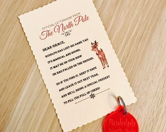 Rudolph's Lost Tag with Personalised Message, Rudolph's Keyring Tag, Christmas Stocking Filler, Childrens Gift, Rudolph Lost Tag, Santa Gift