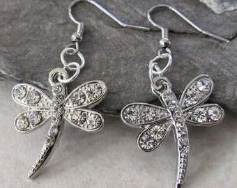 Dragonfly Dangle Earrings - Rhinestone & Silver Dragonfly Jewelry - Nature Inspired Earrings - Summer Season Earrings -Nature Lover's Gift