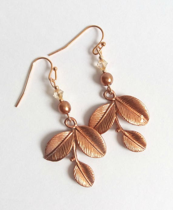 Bohemian Copper Leaf Earrings
