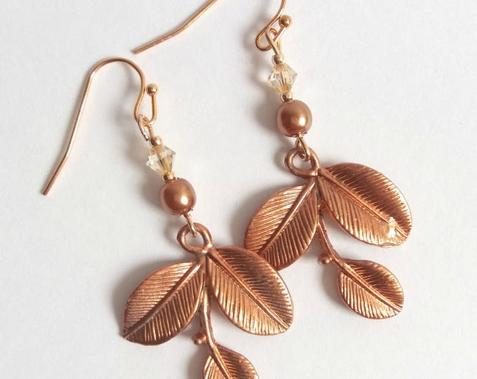 Copper leaf earrings, bridal earrings, bridesmaid gift, rose gold jewellery, Christmas gift, boho bride, bohemian jewelry, gift for her