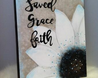 Christian Home Decor, Saved Grace Faith Home Decor, Christian Wall Art, Christian Teacher Gift, Easter Home Decor, Floral Canvas Wall Art