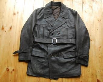 """Vintage European Soft Leather Barnstormer Belted Jacket Coat 40"""""""