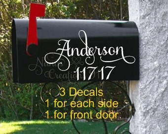Mailbox Decal with Name-Mailbox Decals-Personalized Mailbox-Custom Mailbox Decals-Name Mailbox Decals-Street Address Decal-Vinyl Decals