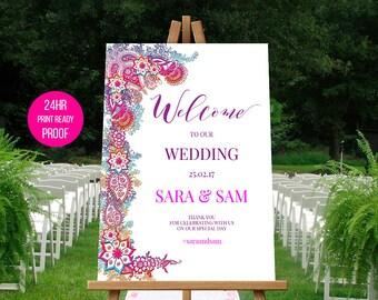 Indian Wedding Decoration | Printable Wedding Sign | Welcome Sign | SARA.W