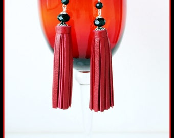 Leather tassel earrings.Tassel Earrings Leather,Fringe earrings,boho earrings, Red Tassel Earrings For Woman