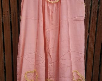 1920s pink silk + lace trapeze tunic or dress // small or medium