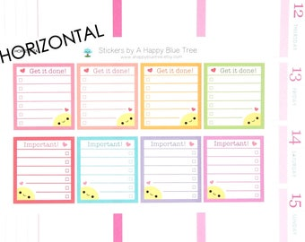 Happy Get it Done/Important Full Box Stickers HORIZONTAL Erin Condren Life Planner ECLP Mambi Personal Kawaii Cute Errands Shopping Reminder