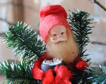 Vintage Santa Claus ornament Christmas ornament Collectible figurine 1950s Christmas decoration