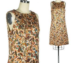 Reserved – 60s Brocade Paisley Dress Vintage Mod Dress Gold Lurex Shift Dress Psychedelic