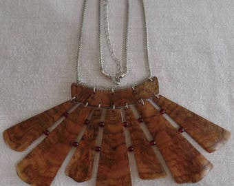 Sugar Maple Burl Statement Necklace natural bottom edge and Red Beads, Silver plated chain JSN001