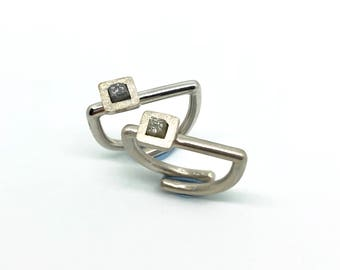 Raw Diamond silver ring · Silver ring with raw diamond · Engagement ring with raw diamond
