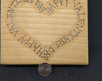 Happy Valentines day in heart shape rubber stamp