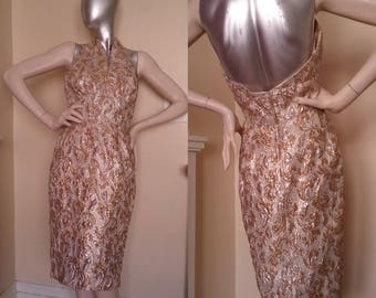 ON SALE / Sparkling Silver & Gold Halter Bubble Dress 1960s HOMEMADE Vintage Low Back
