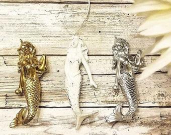 SET 3 Mermaid Decor, Christmas Ornament, Housewarming Gift, Nautical Gifts, Mermaid Gifts, Nautical Decor Nautical Nursery Nautical Bathroom