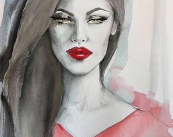 Original artwork Watercolour Portrait of Monica Bellucci
