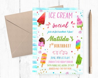 Ice cream Invitation, Ice Cream Party, Ice Cream Party Invitation, Ice Cream Birthday Invitation, Ice Cream invites, Ice Cream Invitations,