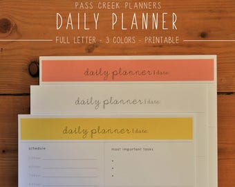 Daily Planner Printable, Planner Printable, Day Planner, Day Organizer, Minimalist Planner, Productivity Planner, To Do List