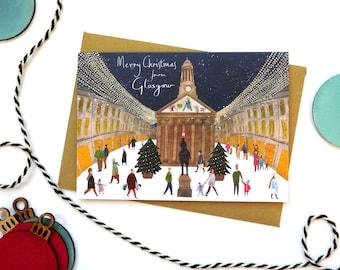 Glasgow Christmas Card. Merchant City. Duke of Wellington