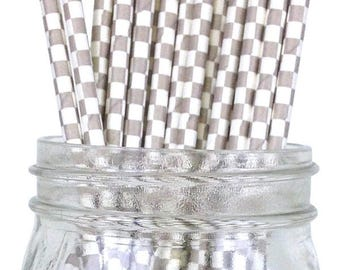 Gray Checkered Paper Straws, Party Supplies, Party Decor, Bar Cart Cake Pop Sticks, Party Graduation