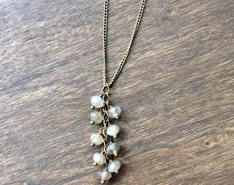 Labradorite Beaded Drop Necklace, Bohemian Beaded Necklace, Y-shaped Necklace, Labradorite Jewelry, Lariat Necklace, Jewelry Under 50