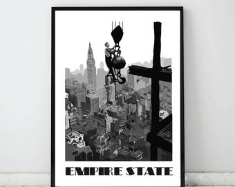Empire State Building print, New York City print, illustration of New York, New York City, Empire State, New York Architecture