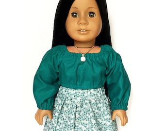 Crop Peasant Top, Long Sleeve, Teal Blue, Fall, American, 18 inch Doll Clothes, Mix and Match