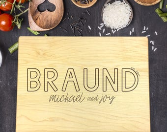 Personalized Cutting Board, Christmas Gift, Custom Name, Last Name, Wedding Gift, Anniversary, Anniversary Gift, Gift for Wedding, B-0077