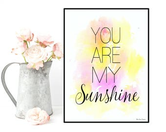 Love poster, Love quote, Nursery decor, You are my sunshine, Children room decor, Poster quote, Wall decor, Positive quote wall, Baby gift