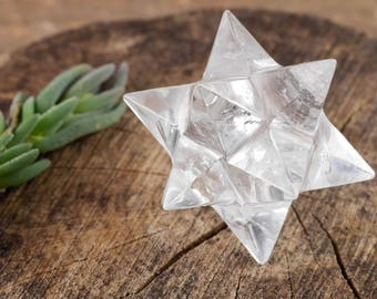"2"" CLEAR QUARTZ 12 Point Star Polygon Crystal Carving - Clear Quartz Crystal, Sacred Geometry, Healing Crystal, Meditation Crystal E0713"