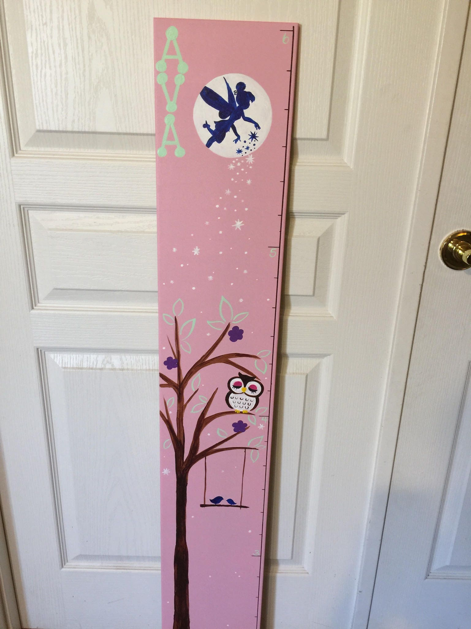 Owl and fairy wooden growth chart tinkerbell height tracker baby owl and fairy wooden growth chart tinkerbell height tracker baby shower birthday nvjuhfo Image collections