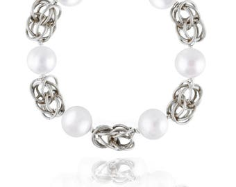 Silver, Pearl & Chainmaille  Link Bracelet - Swarovski Crystal, Freshwater Pearls, Sterling Silver - Style 1214 - Ready to Ship